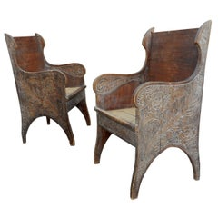 Pair of Armchairs Popular Art, Art Nouveau Style, circa 1900
