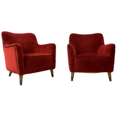 Pair of Armchairs, Red Velvet, by Gio Ponti, 1949