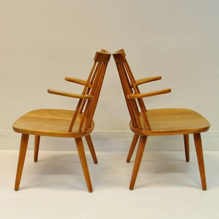 This pair of Sibbo easy chairs was designed by Yngve Ekström and produced by Stolab in Sweden, 1955. The design of these chairs is light and timeless. Measures: 53 cm W, 75 cm H and 45 cm D Yngve Ekström (1913-1988) was an architect, woodworker and