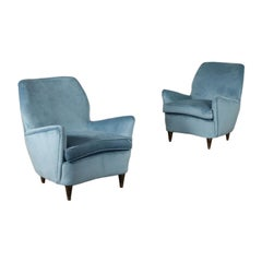 Pair of Armchairs Spring Foam Velvet Wood, Italy, 1950s