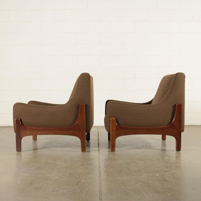 Pair of Armchairs Stained Beechwood Foam Fabric, Italy, 1960s 4