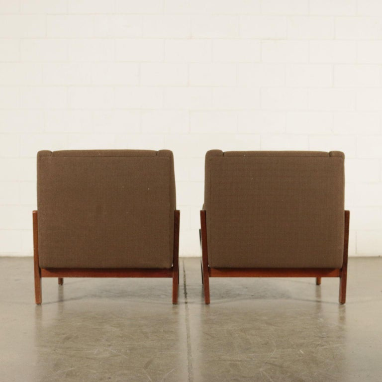 Pair of Armchairs Stained Beechwood Foam Fabric, Italy, 1960s 5