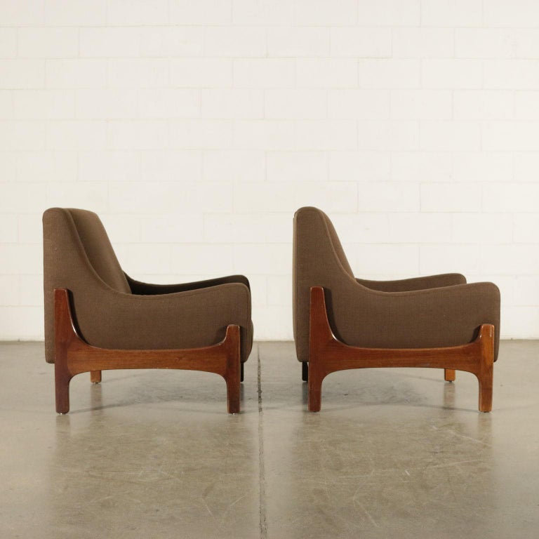 Mid-Century Modern Pair of Armchairs Stained Beechwood Foam Fabric, Italy, 1960s