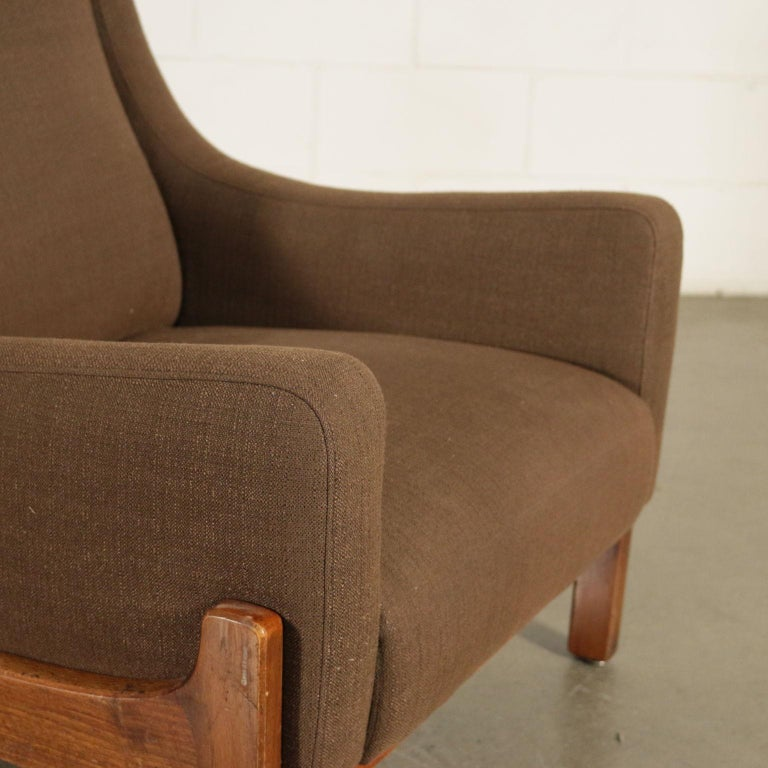 Pair of Armchairs Stained Beechwood Foam Fabric, Italy, 1960s In Good Condition In Milano, IT
