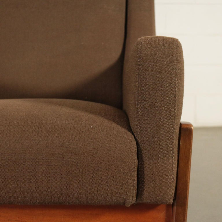 Pair of Armchairs Stained Beechwood Foam Fabric, Italy, 1960s 1