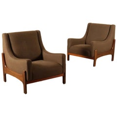 Pair of Armchairs Stained Beechwood Foam Fabric, Italy, 1960s