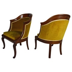 Pair of Armchairs / Tub Chairs in Carved Mahogany, France, Early 19th Century