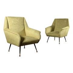 Pair of Armchairs Velvet Upholstery Foam Vintage, Italy, 1960s
