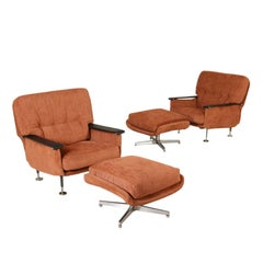 Pair of Armchairs with Footstool Leatherette Fabric Vintage, Italy, 1960s