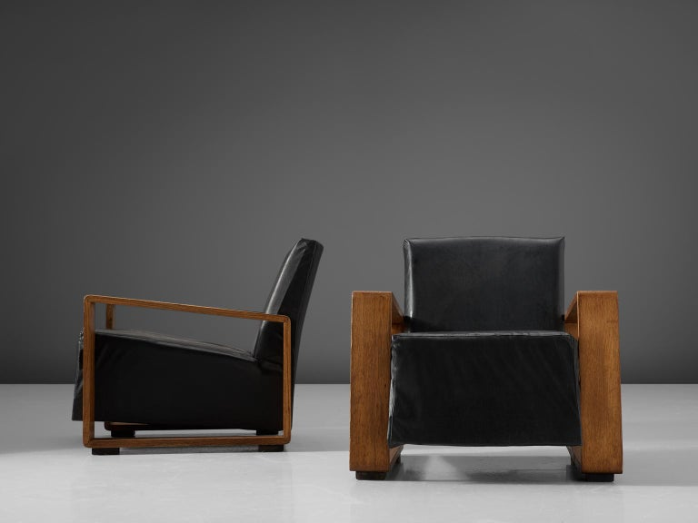 Stained Pair of Armchairs with Geometric Wooden Frame For Sale