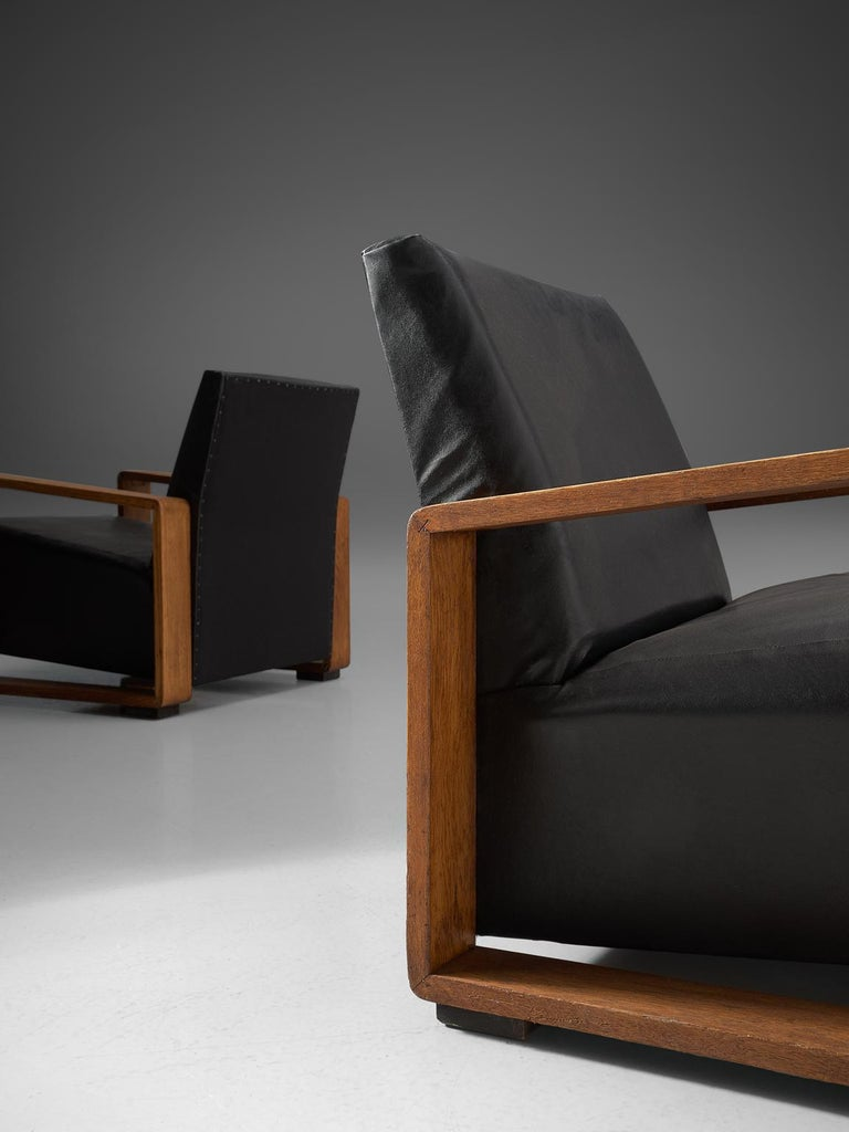 Leather Pair of Armchairs with Geometric Wooden Frame For Sale
