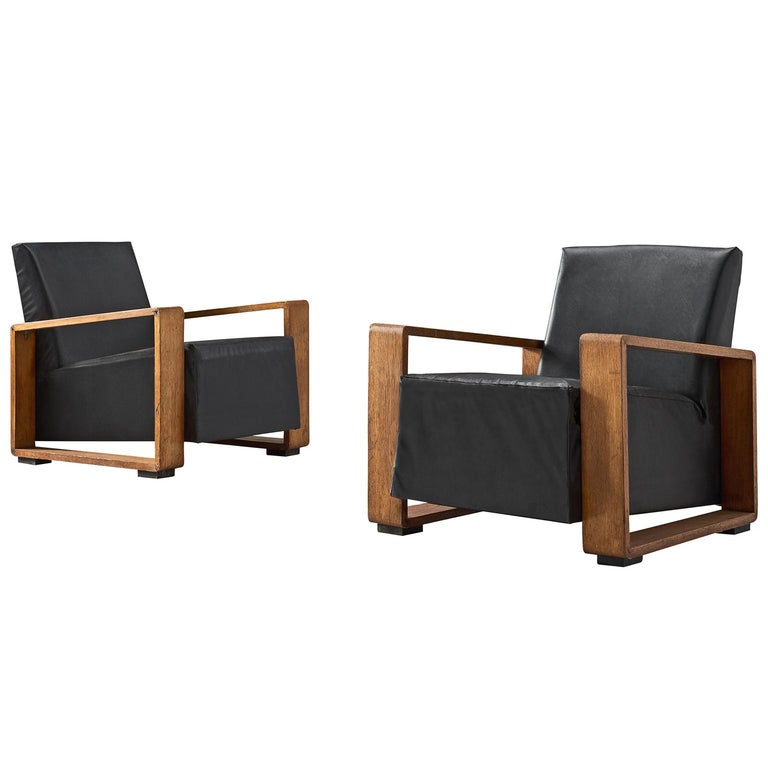Pair of Armchairs with Geometric Wooden Frame For Sale