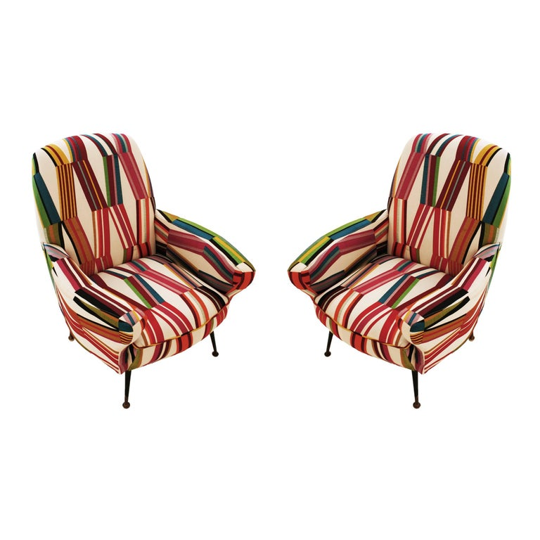 Pair of Armchairs, Italy, 1950 For Sale