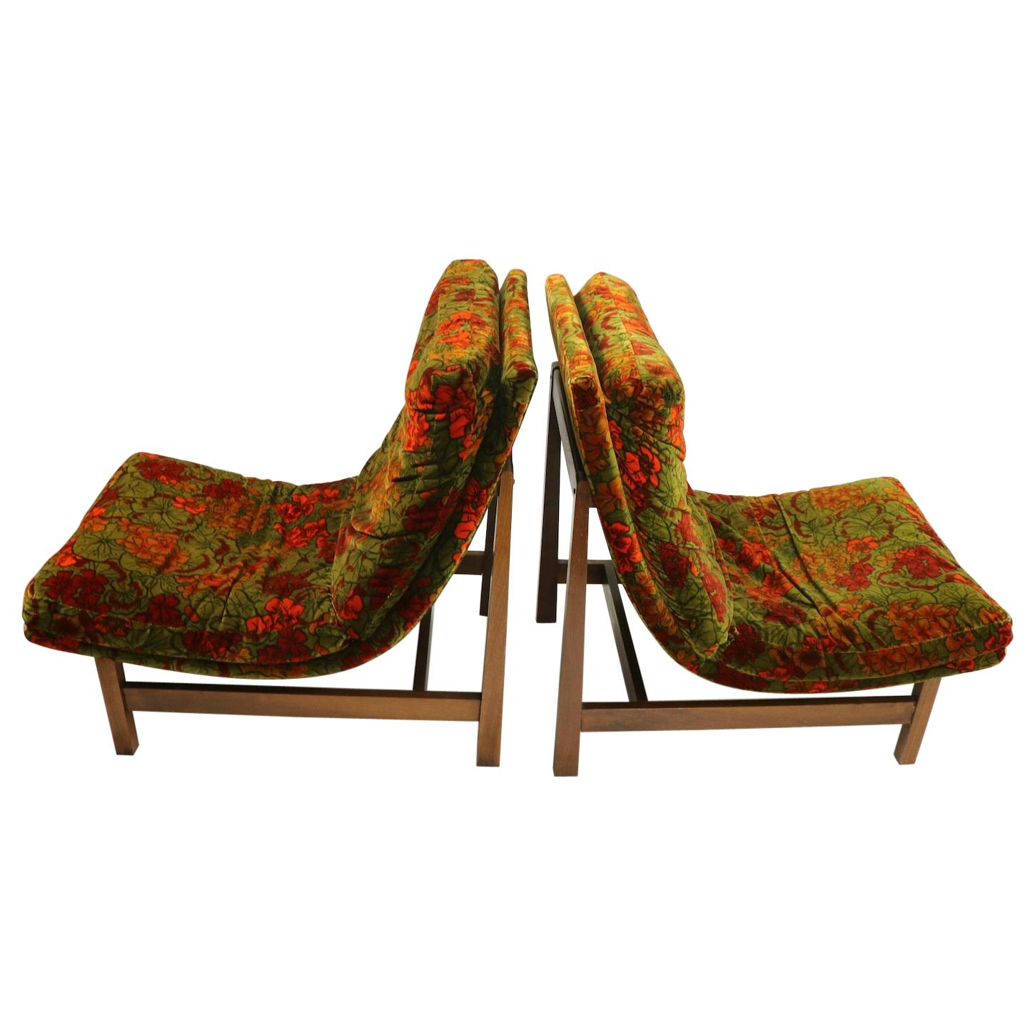 Pair of Armless Scoop Style Lounge Chairs after Probber
