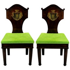 Pair of Armorial Hall Chairs in the Manner of Thomas Hope