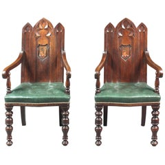 Pair of Armorial Gothic Oak Chairs with Arms