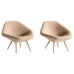 Pair of Arne Dahlén Lounge Chairs in Pierre Frey Bouclé and Oak, Sweden, 1960s