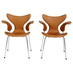 Pair of Arne Jacobsen Brown Leather Seagull Chairs