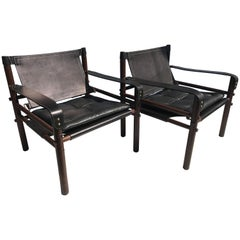 "Pair of Arne Norell Black ""Sirocco"" Safari Chairs"