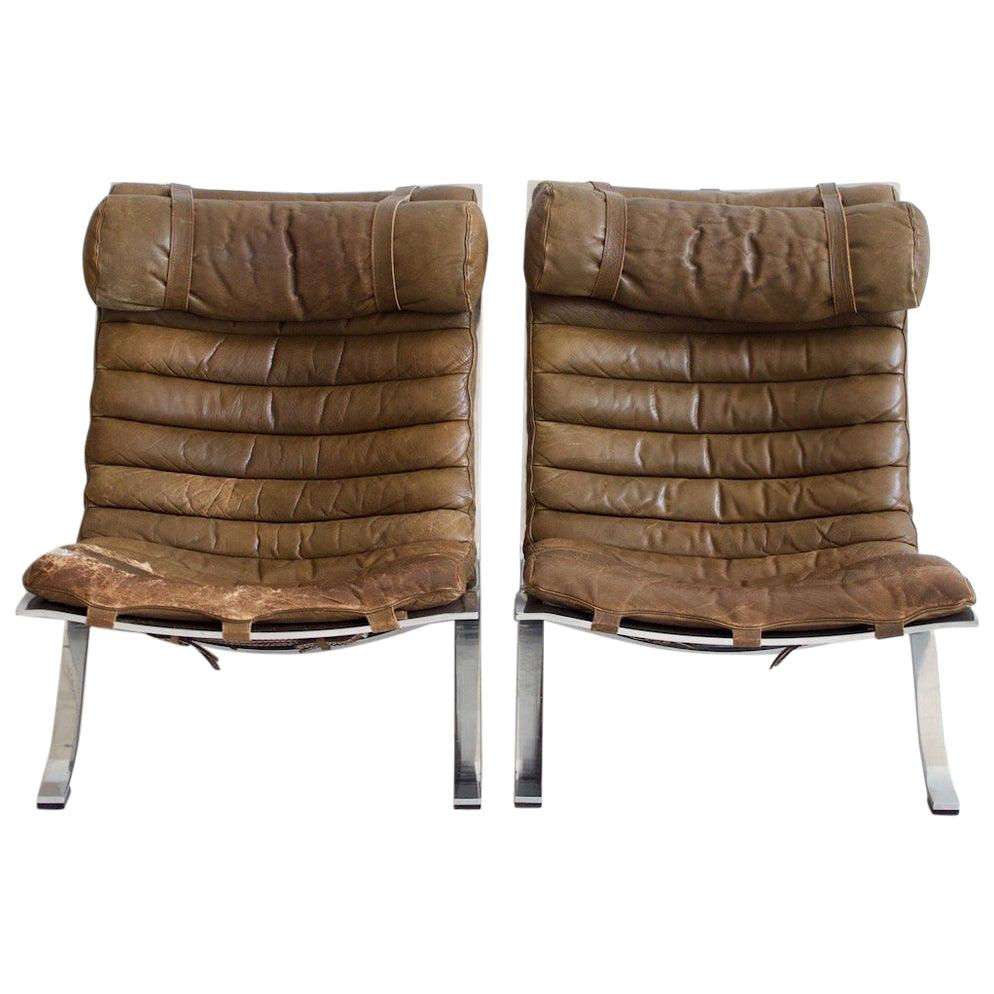 Pair of Arne Norell Brown Leather and Steel Ari Lounge Chairs