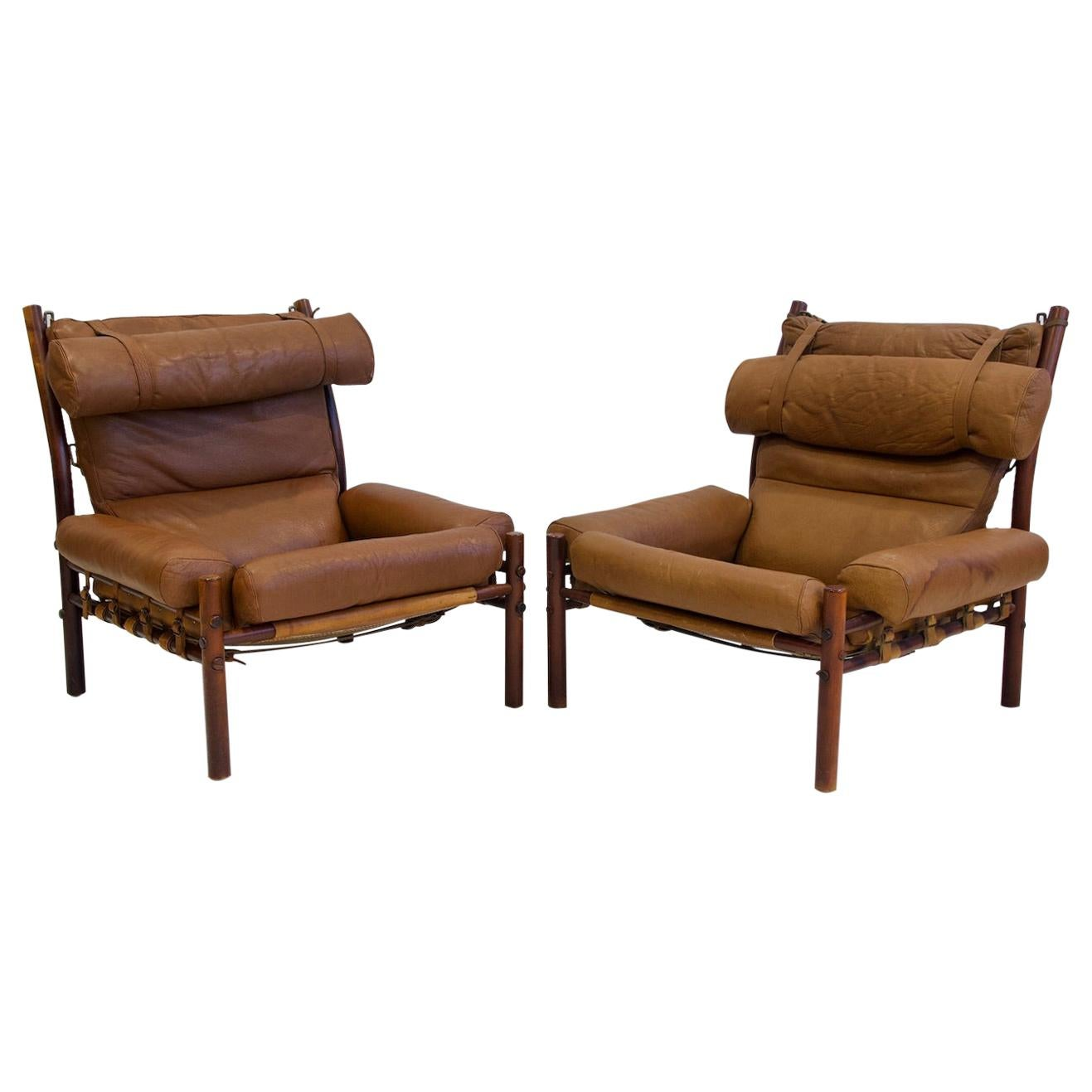 Pair of Arne Norell Brown Leather Inca Lounge Chairs