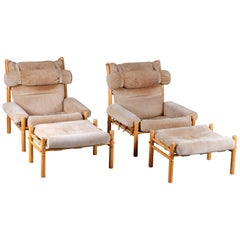 """Pair of Arne Norell Easy Chairs """"Inca"""" with Ottomans, 1970s"""
