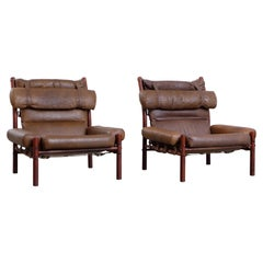 Pair of Arne Norell Easy Chairs Model Inca, 1970s