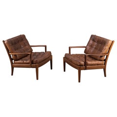 """Pair of Arne Norell Easy Chairs Model """"Löven"""", 1960s"""