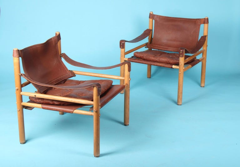 Swedish Pair of Arne Norell Easy Chairs Model Sirocco, 1960s For Sale