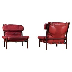 """Pair of Arne Norell """"Inca"""" Easy Chairs with Ottoman, 1970s"""