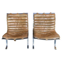 Pair of Arne Norell Leather and Steel Chairs, Denmark, Circa 1950's