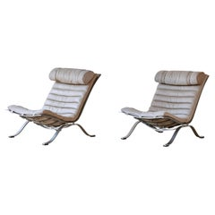Pair of Arne Norell Leather Ari Chairs, Sweden