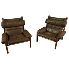 Pair of Arne Norell Lounge Chairs, Model Inca, circa 1960