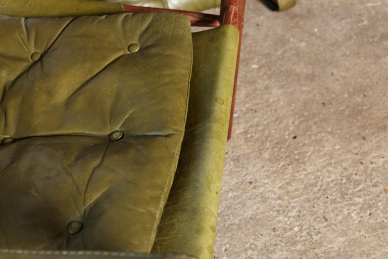 Pair of Arne Norell Rosewood Safari Chairs, Green Leather, Sweden, 1970s 5