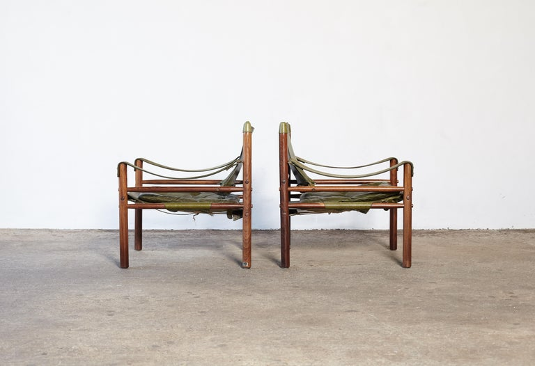 Mid-Century Modern Pair of Arne Norell Rosewood Safari Chairs, Green Leather, Sweden, 1970s