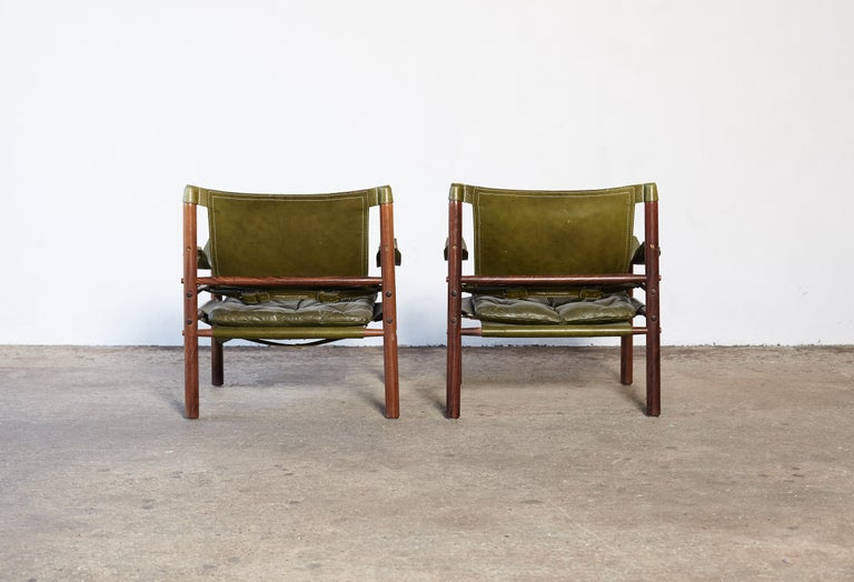 Swedish Pair of Arne Norell Rosewood Safari Chairs, Green Leather, Sweden, 1970s