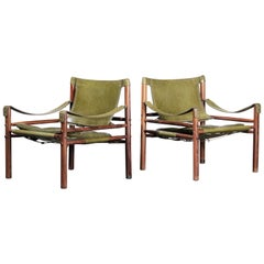 Pair of Arne Norell Rosewood Safari Chairs, Green Leather, Sweden, 1970s