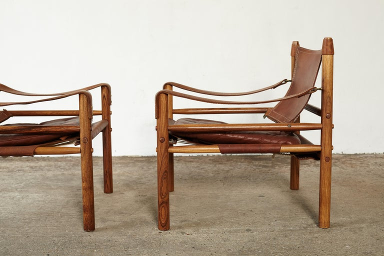 Pair of Arne Norell Rosewood Safari Chairs, Sweden, 1970s 3