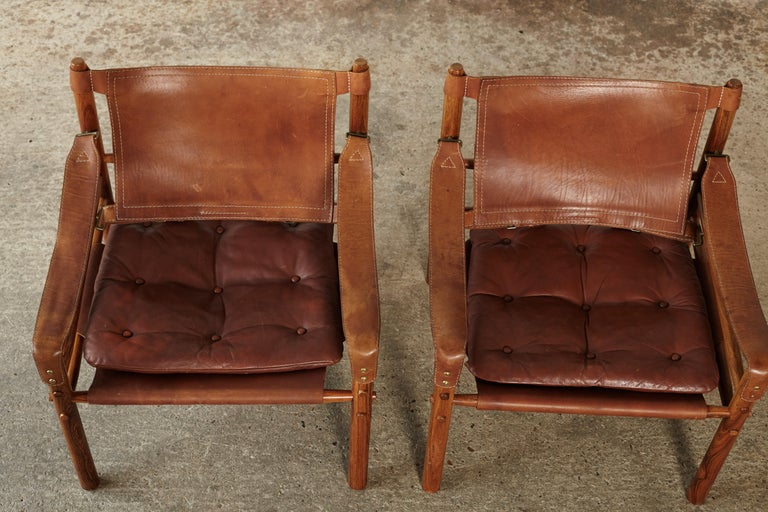 Pair of Arne Norell Rosewood Safari Chairs, Sweden, 1970s 4