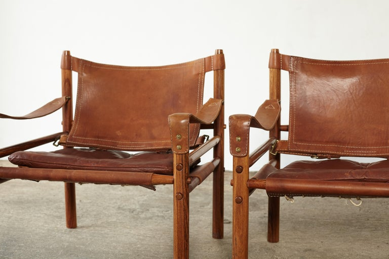 Pair of Arne Norell Rosewood Safari Chairs, Sweden, 1970s 5