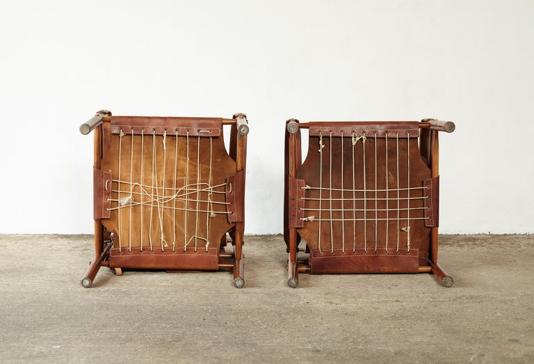 Pair of Arne Norell Rosewood Safari Chairs, Sweden, 1970s 6