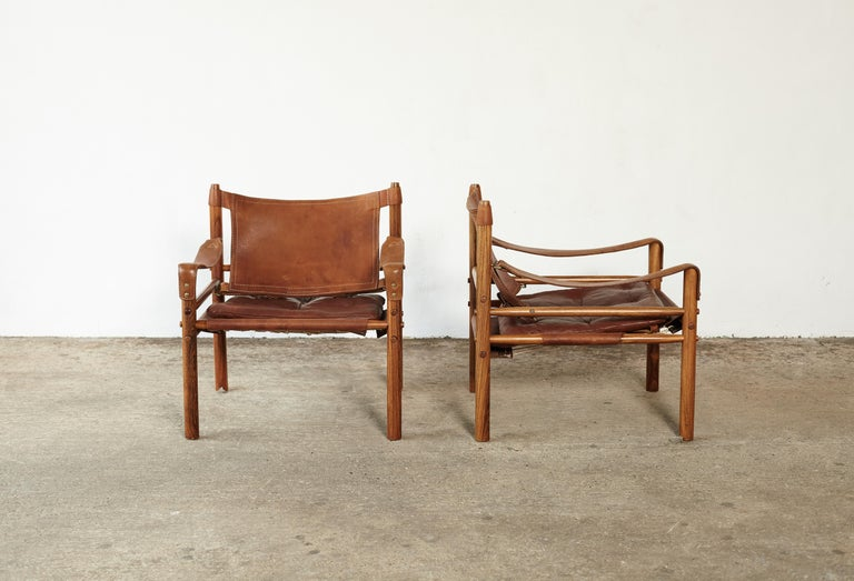Mid-Century Modern Pair of Arne Norell Rosewood Safari Chairs, Sweden, 1970s