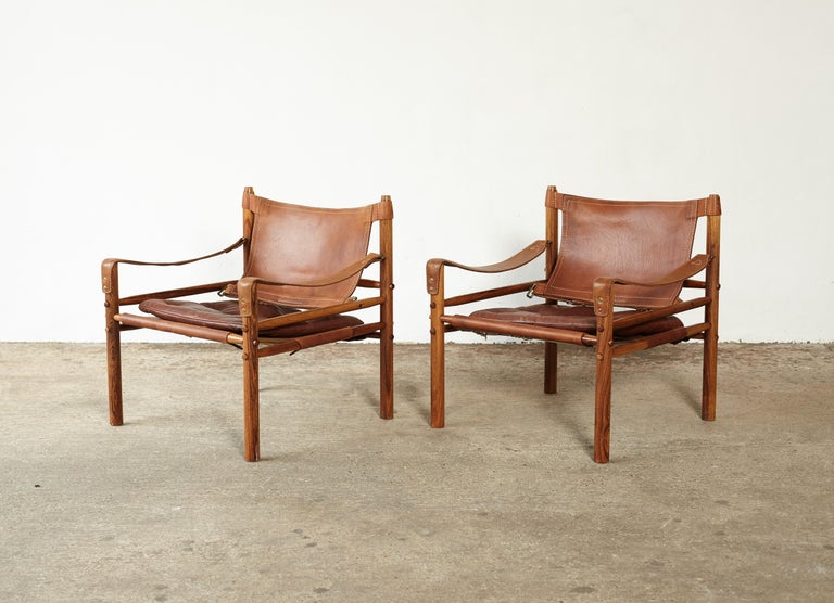Swedish Pair of Arne Norell Rosewood Safari Chairs, Sweden, 1970s