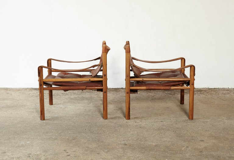 20th Century Pair of Arne Norell Rosewood Safari Chairs, Sweden, 1970s