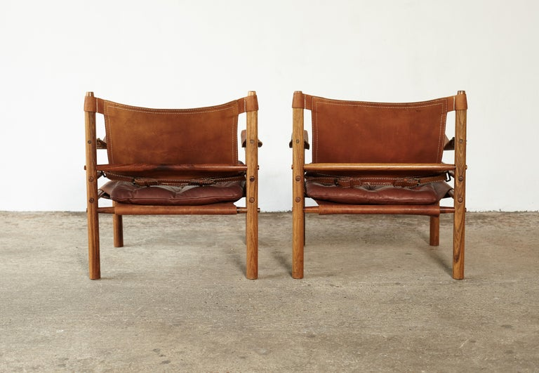 Leather Pair of Arne Norell Rosewood Safari Chairs, Sweden, 1970s