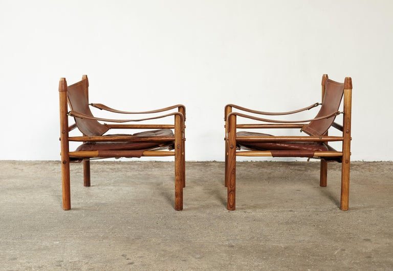 Pair of Arne Norell Rosewood Safari Chairs, Sweden, 1970s 1