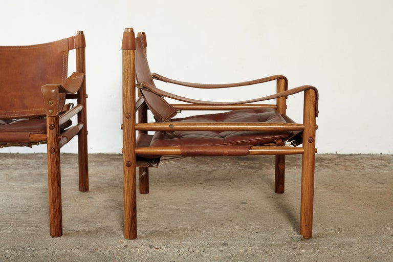 Pair of Arne Norell Rosewood Safari Chairs, Sweden, 1970s 2