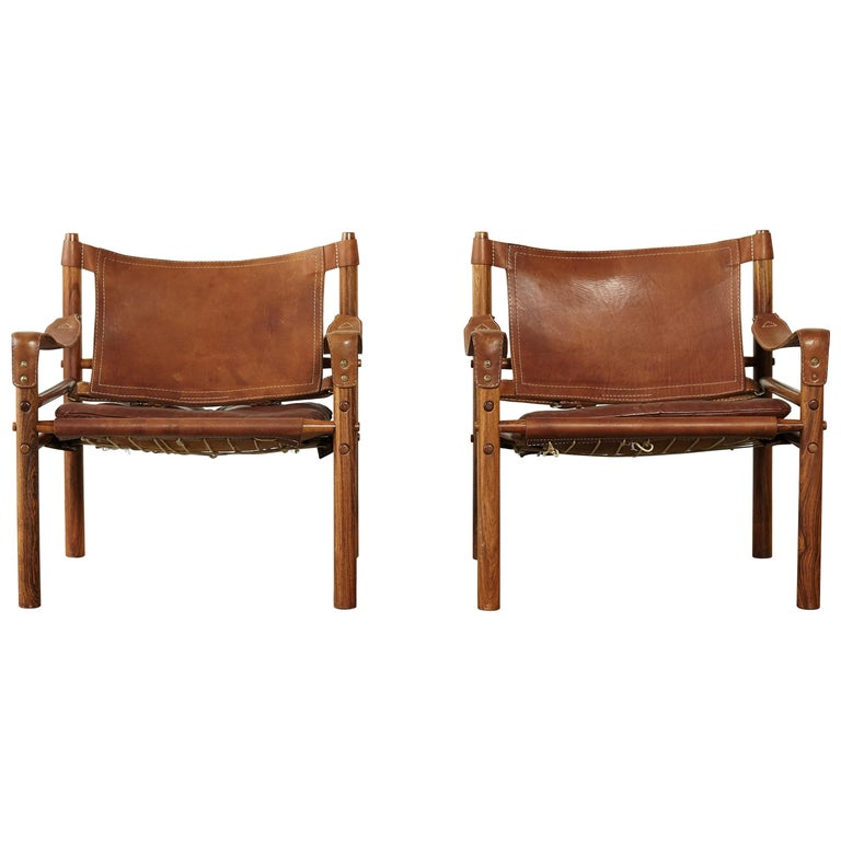 Pair of Arne Norell Rosewood Safari Chairs, Sweden, 1970s