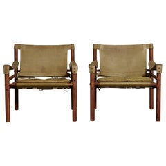 Pair of Arne Norell Safari Chairs, Green Leather, Sweden, 1970s