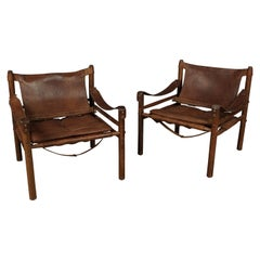 Pair of Arne Norell Safari Lounge Chairs, Model Sirocco, Sweden, 1970s
